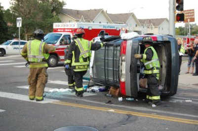 Firefighters inspect crash