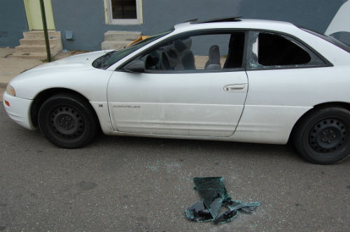 Burglary suspect car at Colfax and N. Chester St. - Photo by Shane Anthony AuroraNews1.com