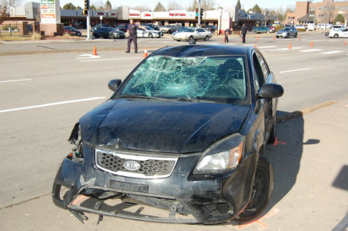 Show here is the car that struck the pedestrian. Photo by Shane Anthony AuroraNews1.com