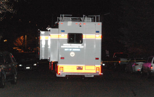 A Command Post vehicle is staged outside of an apartment complex on E. Arizona Ave. where police found suspicious materials.  Photo by Shane Anthony AuroraNews1.com