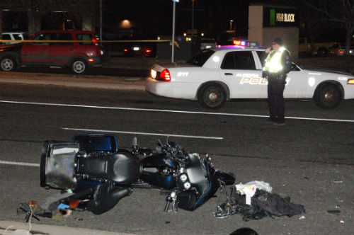 A serious injury motorcycle vs. car crash occurred at E. Iliff and S. Xapary St. 01/25/15 Photo by Shane Anthony AuroraNews1.com