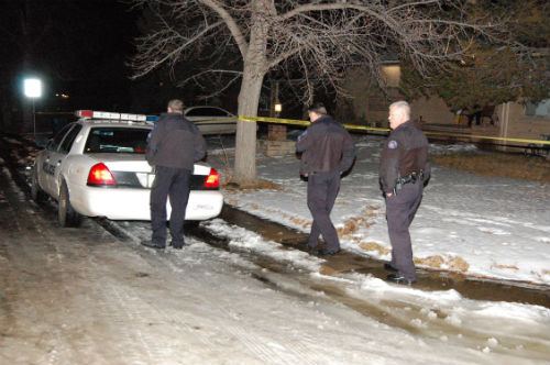 This was the N. Galena shooting scene Monday night 01/05/15 Photo by Shane Anthony AuroraNews1.com