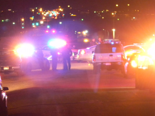 The scene at 6th and Tower where an armed robbery suspect was shot and killed by Aurora Police. Photo by Shane Anthony AuroraNews1.com