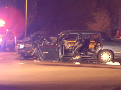 6th Ave. and N. Kenton crash 1.  Photo by Shane Anthony AuroraNews1.com