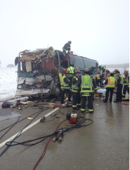 I70 and E470 Buses collide - Photo Courtesy of Aurora Police Department